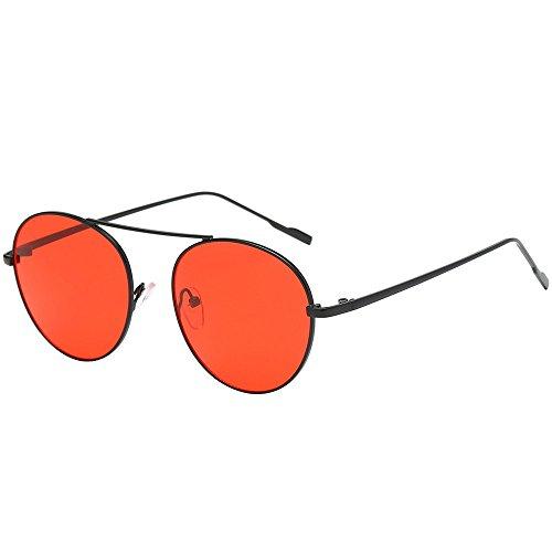 Women Unisex Fashion Round Shades Acetate Frame Sunglasses,Goddesslili Classic UV Glasses Sunglasses (D)