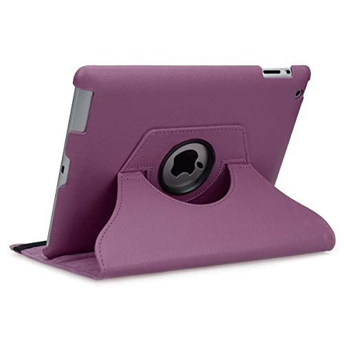 doupi 360 Smart Flip Cover for Apple iPad 2 3 4 Deluxe Leatherette Protective Case Sleep/Wake Function 360 Degree Rotatable Stand Screen Protector Purple