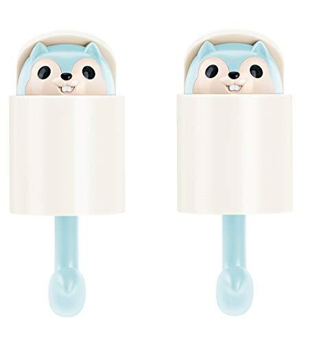 Fan-Ling Squirrel Self Adhesive Wall Hook, Home Cartoon Cute Hanger Key Umbrella Towel Cap Coat Hook,Cute Squirrel Hook,Squirrel Design Single Home Coat Hook Clothes Hanger (Light Blue:2pcs) (Cast Iron Squirrel Hook)