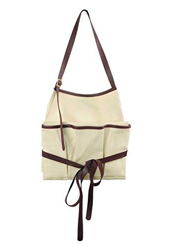 Smith & Hawken Canvas Apron Cream with Genuine Leather (Smith Hawken Garden Tools)