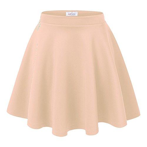 Red Hanger Women's Versatile Basic Stretchy A-Line Flared Skater Skirt (Medium, Taupe)