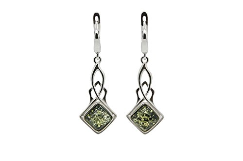 925 Sterling Silver Art Deco Leverback Dangle Earrings with Genuine Natural Baltic Green (Amber Oval Post Earrings)