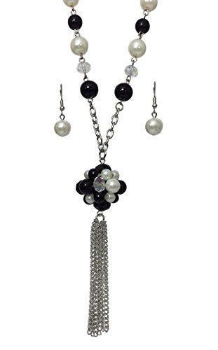 Tassel Strand Necklace (Long Multi Strand Multi Color Tassel Beaded Necklace & Earring Set (Imitation pearl & Black))