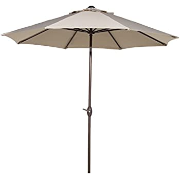 Abba Patio 11 Feet Outdoor Market Umbrella With Push Button Tilt And Crank,  8 Ribs, Beige