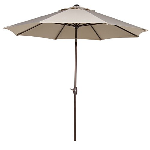 Abba Patio 11-Feet Outdoor Market Umbrella with Push Button Tilt and Crank, 8 Ribs, Beige