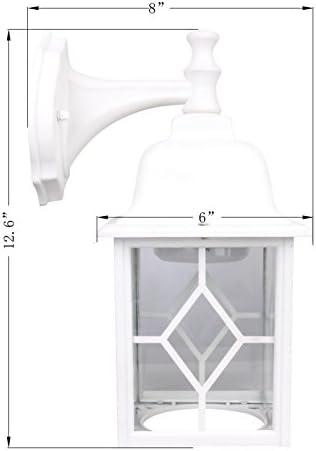 LIT-PaTH Outdoor LED Wall Lantern as Porch Light, 11W 1000 Lumen, Aluminum Housing Plus Glass, Matte White Finish, ETL and ES Qualified