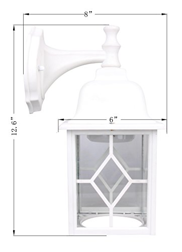 Lit-Path Outdoor LED Wall Lantern, Wall Sconce as Porch Light, 11W (100W Equivalent), 1000 Lumen, Aluminum Housing Plus Glass, Matte White Finish, Outdoor Rated, ETL and ES Qualified by LIT-PaTH (Image #3)