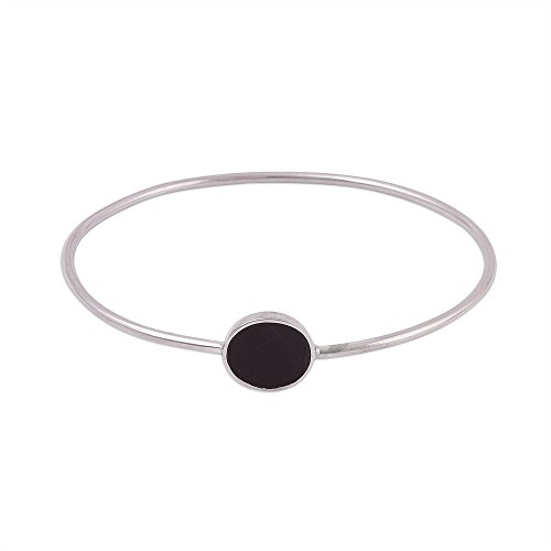 - NOVICA Obsidian .925 Sterling Silver Bangle Bracelet, Eye of the Universe'