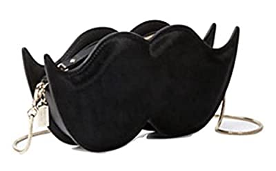 Kate Spade Mustache Make Magic Clutch Crossbody Black Leather Handbag