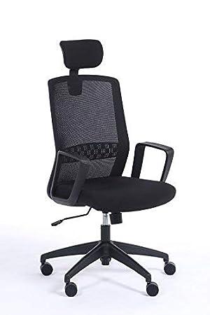 Silla de oficina ergonómica SCOTT con brazos,apoyo lumbar y cabecero. Silla escritorio respaldo en malla: Amazon.es: Oficina y papelería