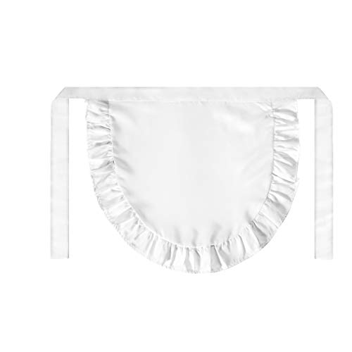 SUN2ROSE Girls Cosplay Waist Apron Tight Costume, White Cotton Half Apron Kitchen Party Favors Also Fits for Kids Apron (Small)]()