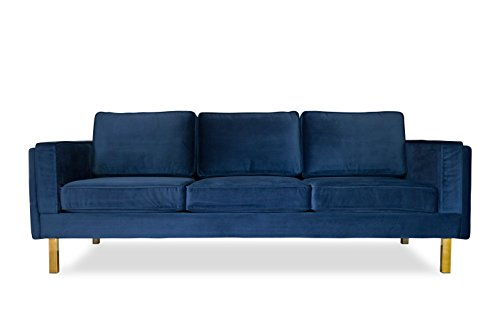 """Edloe Finch Midcentury Modern Lexington Blue Velvet Sofa, 87"""" - EXCEPTIONAL QUALITY: The Lexington Modern Velvet Couch is a neatly tailored, handcrafted treasure. The internal frame is constructed from solid eucalyptus wood creating a solid, dependable structure. The glamorous gold polished stainless steel legs support this cozy stunner FIVE-STAR COMFORT: The handsome Lexington Velvet Sofa is tremendously comfy. The removable, premium foam padded cushions rest atop a high-quality sinuous suspension system making this blue velvet sofa perfect for snuggling up in front of the TV or fireplace. Upholstered in a thick, luxe blue velvet for an incredibly warm and cozy feel CHIC MODERN APPEAL: Clean cut, neatly tailored and balanced — this velvet couch is the ultimate showpiece that will infuse luxurious swagger into your sitting area. The perfect anchor for your chic Mid-Century parlor. Measuring 87 inches wide, this velvet sofa is scaled for a modern urban lifestyle! Perfect for loft and condo living - sofas-couches, living-room-furniture, living-room - 31DVisRrF3L -"""