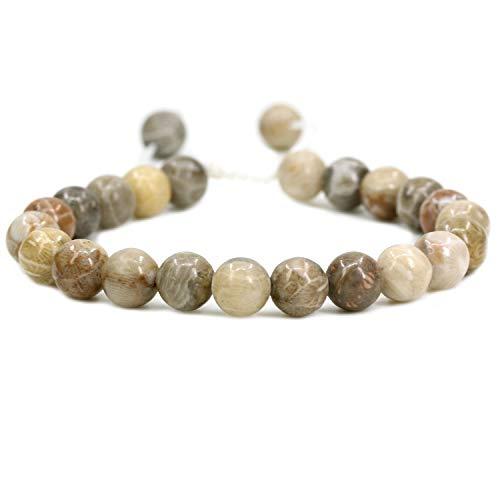 (AMANDASTONES Natural Coral Fossil Gemstone 8mm Round Beads Adjustable Braided Macrame Tassels Chakra Reiki Bracelets 7-9 inch Unisex)