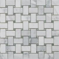 Bianco Carrara White Marble with Ming Green DOT Polished Mosaic Tiles - LOT OF 5 (Green Onyx Mosaic)