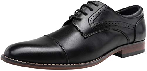VOSTEY Men's Oxford Cap Toe Brogue Formal Dress Shoes for Men (7,Black)