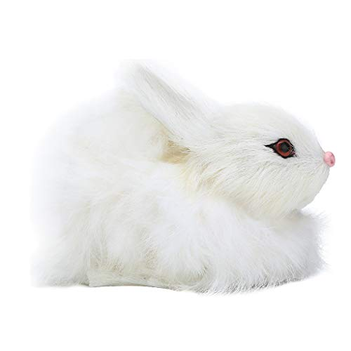 Fan-Ling Simulation Mini Rabbit Animal Model Figure Hare Figurine Home Decor Miniature,Garden Yard Outdoor Indoor Art Crafts Decor,Cute Craft Decorative Ornaments for Home Table DecorationU (White)