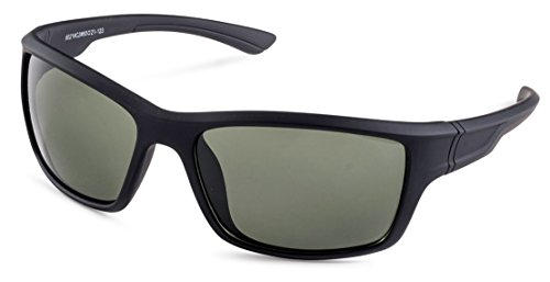 Matte Black Frame Green Lenses - Matte Black Frame/Green Lens Stylle Sport Wrap Sunglasses
