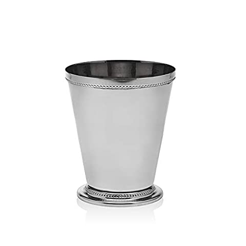 Mint Julep Cup – Solid Aluminum Nickel Plated 12 Oz Beautifully Beaded Trim Edging Mint Julep Cups Capacity for Drink…
