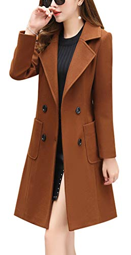 chouyatou Women Elegant Notched Collar Double Breasted Wool Blend Over Coat (Medium, Brown)