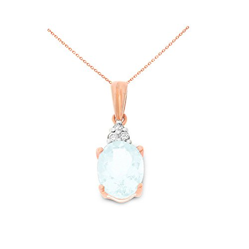 14K Rose Gold 6 x 8 mm. Oval Genuine Aquamarine and Diamond Pendant With Square Rolo Chain Necklace - Genuine Square Aquamarine Pendant