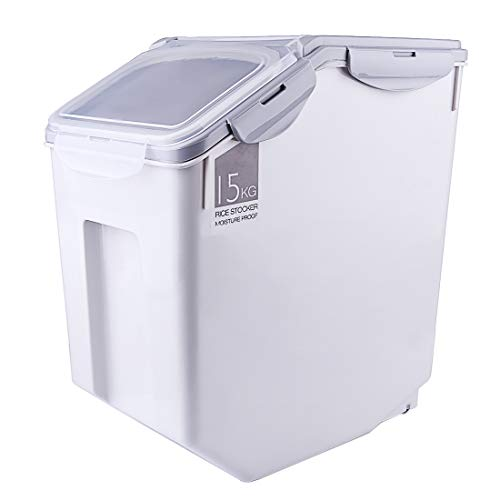 Haoun 33 lbs Rice Storage Container,Household Sealed Cereal Grain Organizer Box for Kitchen - Grey