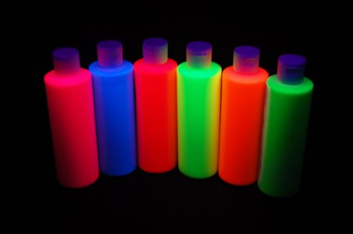 6 Pack 8oz Assorted Blacklight Reactive Fluorescent Acrylic