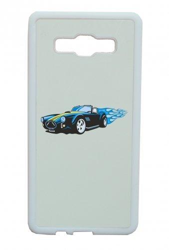"""Smartphone Case Apple IPhone 5C """"Sportwagen Hotrod mit blauen Flammen America Amy USA Auto Car Luxus Breitbau V8 V12 Motor Felge Tuning Mustang Cobra"""" Spass- Kult- Motiv Geschenkidee Ostern Weihnachte"""