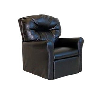 Dozydotes Contemporary Child Rocker Recliner Chair - Black Leather (Leather Like Childrens Recliner)