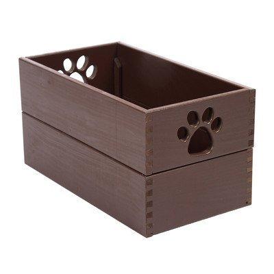 Dynamics Home Indoor Wooden Dog Essential Doll Storage Bin Organizer Pet Toy Box Mahogany by Dynamic Accents