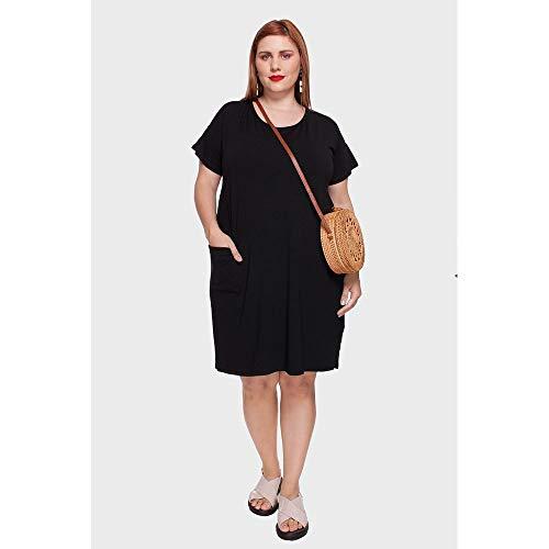 Vestido Com Tiras Plus Size Preto-58/60
