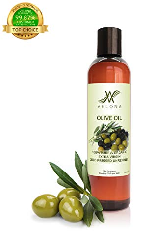 100% Organic Olive Oil by Velona | All Natural Clear Carrier Oil for Cooking and Face, Hair, Body & Skin Care | Extra Virgin, UNREFINED | Size: 8 OZ