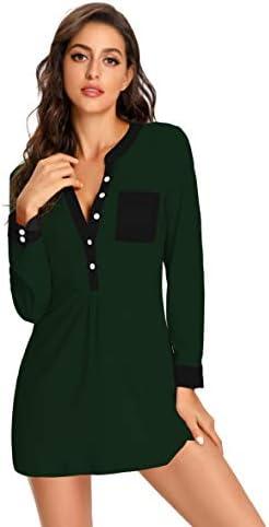 uideazone Women's Nightgown Long Sleeve Button Down Nightshirt V-Neck Sleepwear Pajama Dress