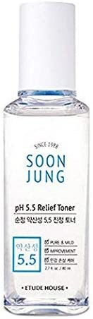 ETUDE HOUSE SoonJung pH 5.5 Relief Toner 2.7 fl. oz. (80ml) - Hypoallergenic Skin Soothing and Moisturizing Facial Toner for Sensitive Skin, Panthenol and Madecassoside Heals Damaged & Irritated Skin