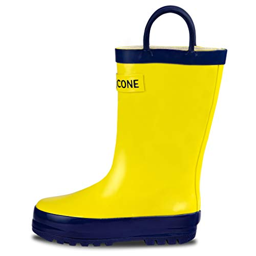 LONECONE Rain Boots with Easy-On Handles for Toddlers and Kids, Classic Yellow, Toddler 4