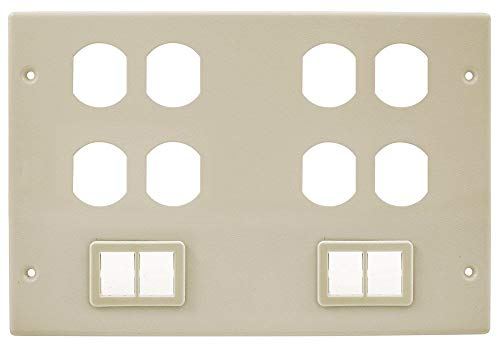 Hubbell Wiring Systems HBL67473BBBBTTIV Steel Metal Raceway Four Duplex Two Ortronics TracJack Mini Adapter Bezel Cover Plate, 6 Gang, 10-7/32