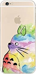 iPhone 7 , Colorful Rubber Flexible Silicone Case Bumper for Apple Clear Cover - colorful cute cat