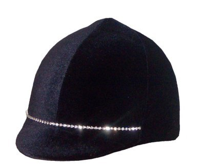 Equestrian Riding Helmet Cover - Rhinestone Black Velvet