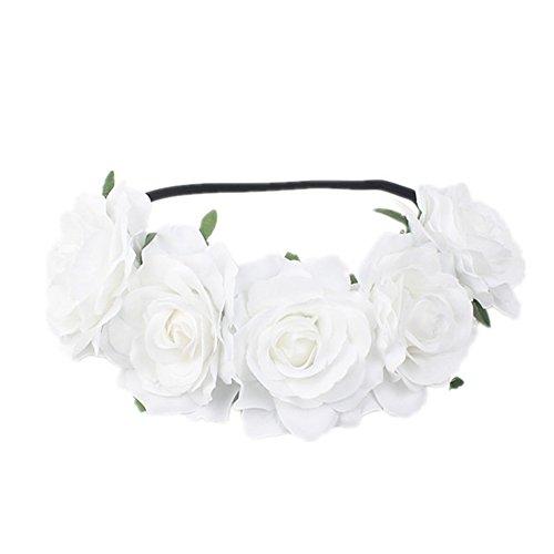 Funbase Women Rose Floral Crown Flower Headband For Wedding Festival Hair Wreath White