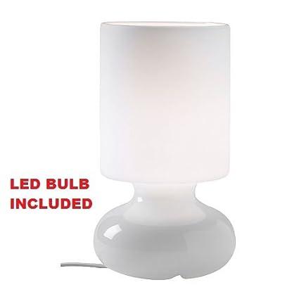 Amazon Com Ikea Table Lamp Led Light Bulb Included White Glass