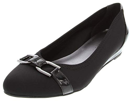 London Fog Womens Chelsea3 Demi-Wedge Dress Shoe Black 7.5
