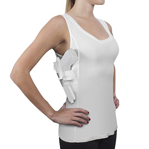 - ConcealmentClothes Women's Compression Undercover- Concealed Carry Holster Tank Top Shirt - White - XX-Large