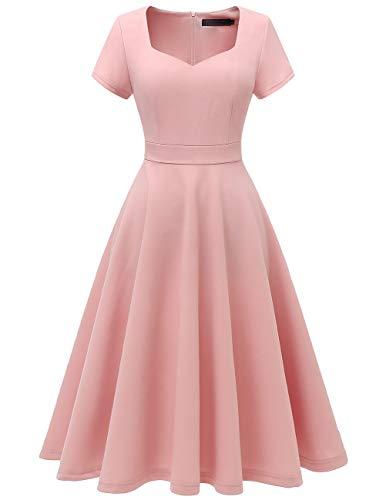 Bridesmay Women's V-Neck Vintage Tea Dress Prom Party Swing Cocktail Bridesmaid Midi Dress Blush XS -
