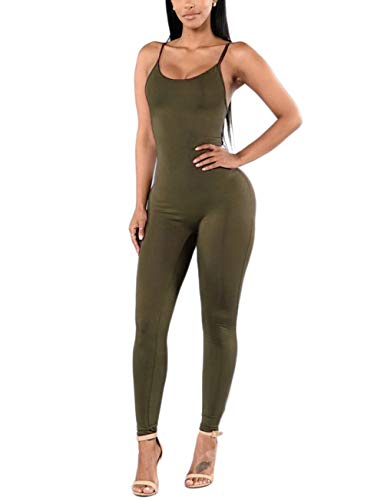 (Amilia Womens Spaghetti Strap Bodycon Tank One Piece Jumpsuits Rompers Playsuit (XL, Olive))