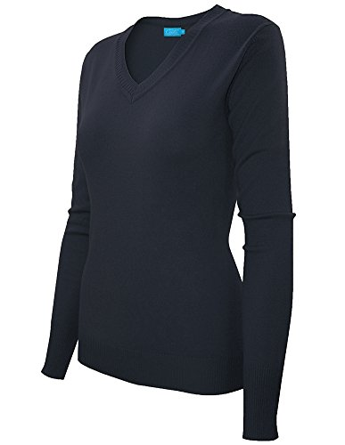 Cielo Women's Classic Long Sleeve Soft Cotton Silk Solid Ribbed V-neck Sweater (Large, Navy)