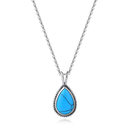 Agvana Sterling Silver Teardrop Created Turquoise Pendant Necklace Fine Jewelry Gifts for Mom Women Girls, 16