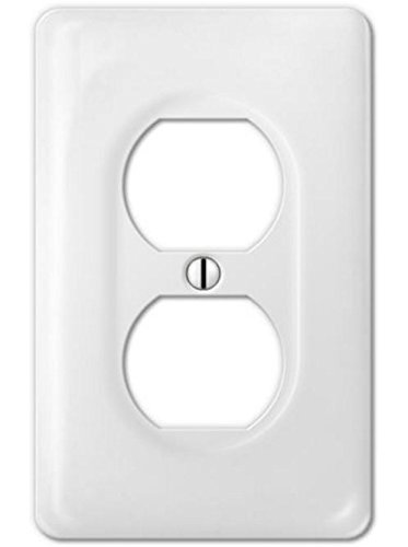 (Porcelain Decorative Switch plate, Wall plate, Cover, Rectangular White, Duplex - 3002D)