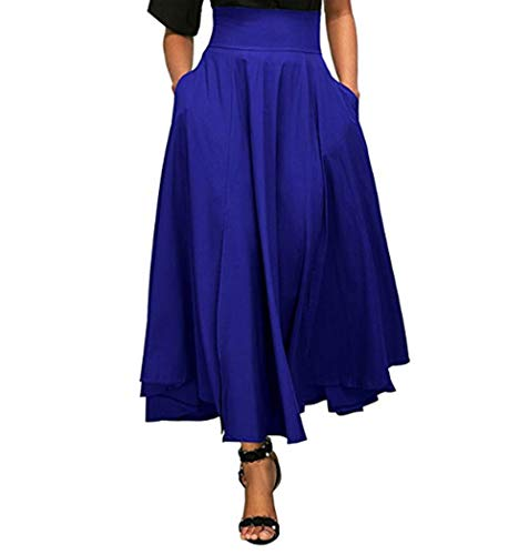 Poches Longue Cocktail Casual Haute Jupe Pliss Bleu Taille Casual Couleur Plage Puravec Elgante de Jupe Vintage Femme Elastique Pliss Maxi Deux Belted 755Tnq