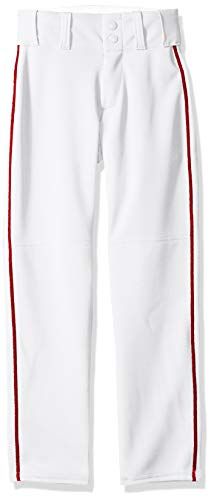 Alleson Ahtletic Boys Youth Baseball Pants with Braid, White/Scarlet, X-Large