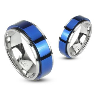 STR-0104 Stainless Steel Two Tone Blue IP Spinning Ring (10)