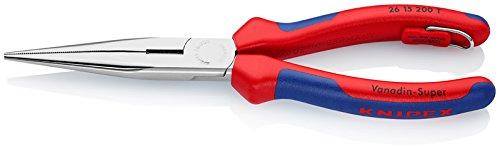 Knipex 26 15 200 T Pince Demi-Ronde avec Tranchant chromée avec Gaines bi-matière, avec œillet intégré pour Fixation d'Un Dispositif antichute 200 mm, Multicolore